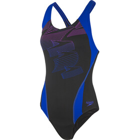 speedo Boom Placement Racerback Traje de Baño Mujer, black/blue